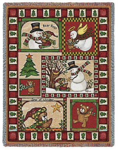 Christmas Bear Patchwork Tapestry Throw