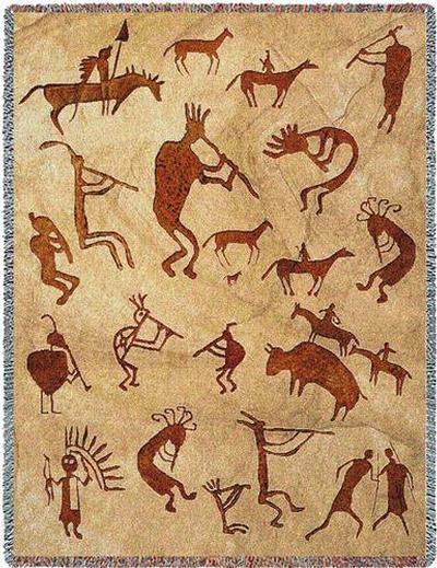 Kokopelli Petroglyphs Southwestern Cotton Throw Blankets