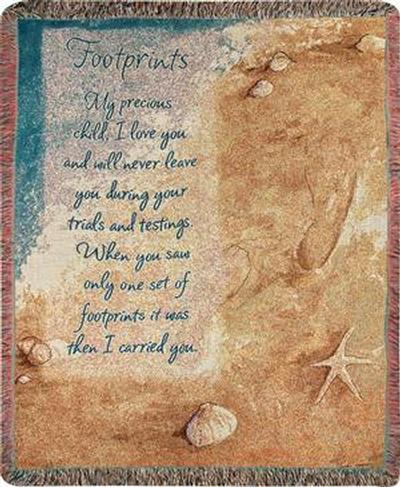 ATFTPR footprints in the sand woven inspirational cotton throws, throw