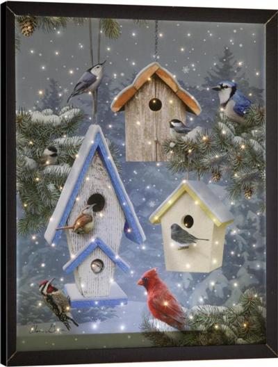 Winter Song Remote Control Fiber Optic Canvas Art