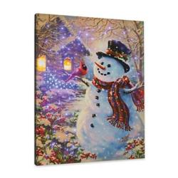 NEW Snowman Feathered Friend Remote Control Fiber Optic Canvas Art