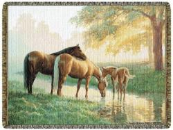 Spring Morning Horses Tapestry Throw