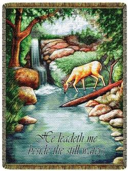 He Leadeth Me Psalm 23 Tapestry Throw