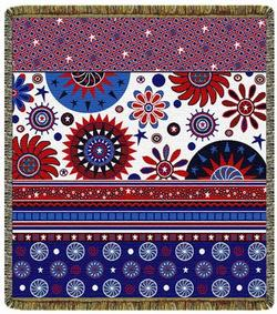 Red, White, Blue & Fun Tapestry Throw