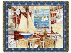 A Sailor's Shop Tapestry Throw