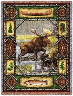 Moose Lodge Tapestry Throw