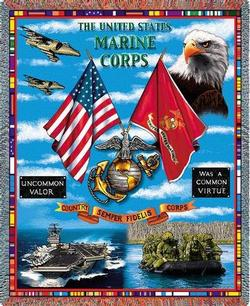 United States Marine Corps Land, Sea & Air Tapestry Throw
