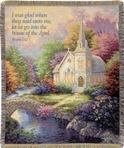 Church in the Country, Psalm 122:1 Tapestry Throw