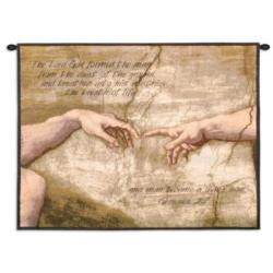 Creation of Adam Gensis 2:7 Tapestry Wall Hanging