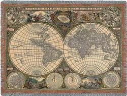 Old World Map Tapestry Throw