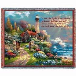 Coastal Splendor with Verse John 8:12 Tapestry Throw