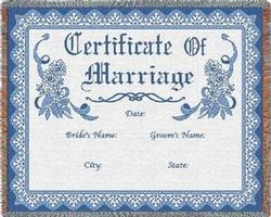 Certificate of Marriage Blue Throw Blanket