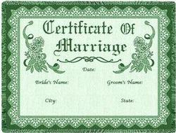 Certificate of Marriage Green Throw Blanket