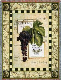Grapes and Labels IV Tapestry Throw