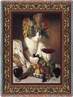 Bacchus Cat Tapestry Throw