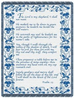 23rd Psalm Country Blue Throw Blankets