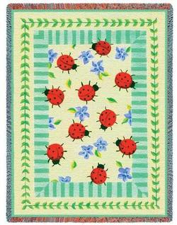 Lady Bug Garden Tapestry Throw