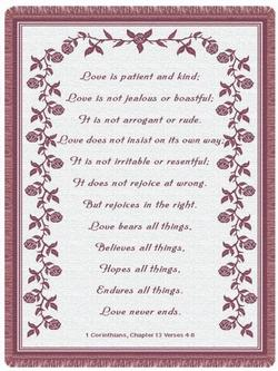 Love is Patient,1 Corinthians 13:4-8 - Mauve Throw Blanket