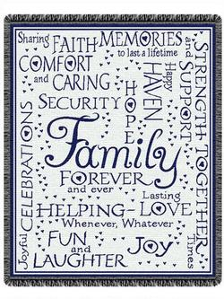 SALE Family Collage - Navy Throw Blanket