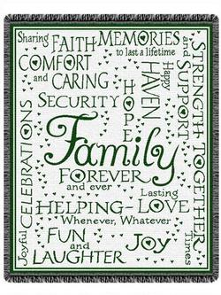 SALE Family Collage - Hunter Green Throw Blanket