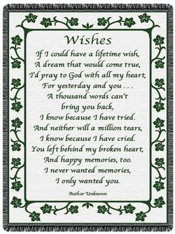 Wishes Hunter Green Throw Blanket