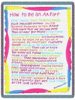 SARK How to be an Artist Throw Blanket