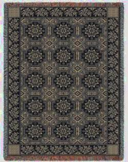 1845 Quilt  Taupe and Black Throw Blanket