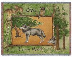 Gray Wolf Tapestry Throw