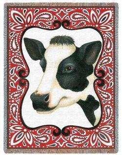 Red Bandana Cow Tapestry Throw