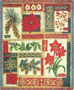 Christmas Collage Tapestry Throw