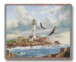 Boston Lighthouse Tapestry Throw