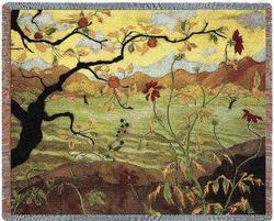 Apple Tree with Red Fruit Tapestry Throw