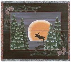 Moonlight Moose Tapestry Throw