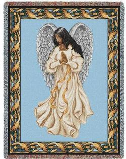 African American Guardian Angel Tapestry Throw