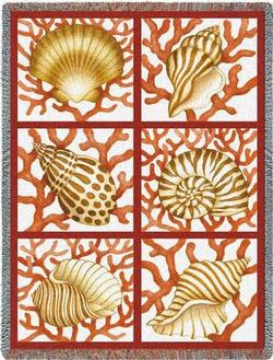 Shells and Coral Tapestry Throw