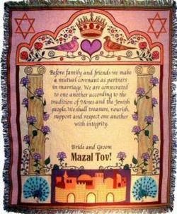 SALE Judaica Jewish Marriage Tapestry Throws