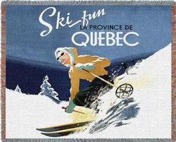 Ski Quebec Tapestry Throw