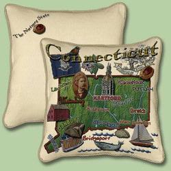 Connecticut State Tapestry Throw Pillow