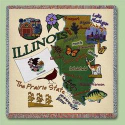 Illinois State Tapestry Lap Throw