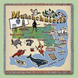 Massechusetts State Tapestry Lap Throw