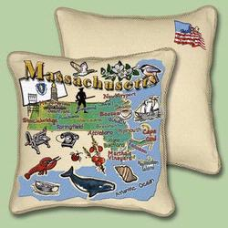 Massechusetts State Tapestry Throw Pillow