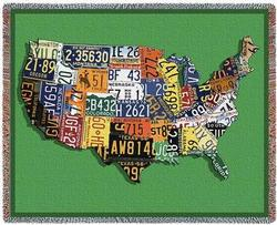 USA Tags Tapestry Throw