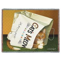 Cat's in Bag Tapestry Throw