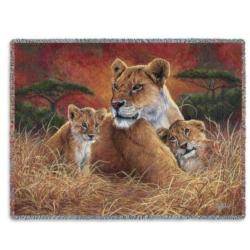 Motherly Lion Tapestry Throw