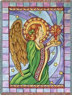 Stain Glass Angel Tapestry Throw