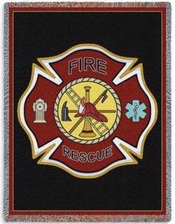 Firefighter Shield Tapestry Throw