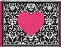 Damask Hearts Throw Blanket