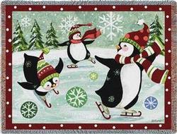 SALE Christmas Penguin Tapestry Throw