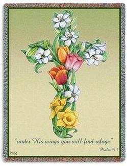 Mixed Bouquet, Psalm 91:4 Cross Tapestry Throw