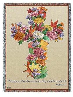 Autumn Cross, Matthew 5:4 Tapestry Throw